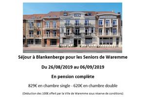 Séjour à Blankenberge pour les Seniors de Waremme